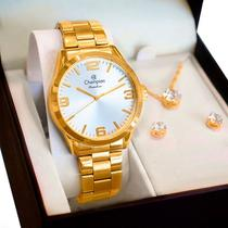 Relógio Champion Feminino Analógico Dourado CN29892Z + Kit de Brincos e Colar -