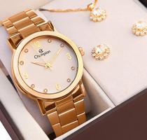 Relógio Champion Feminino Analógico Dourado + Colar e Brincos - Garantia de Um Ano -
