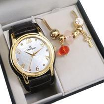Relógio Champion Feminino Analógico Dourado Couro CN20257W + Pulseira Berloques -