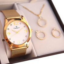 Relógio Champion Feminino CN29098W + Kit de Brincos e Colar -