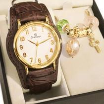 Relógio Champion Feminino Couro Marrom + Pulseira Berloques -