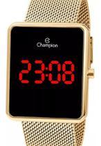 Relógio Champion Feminino Digital Quadrado Dourado Led -