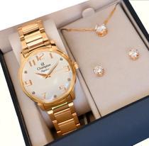 Relógio Champion Feminino Dourado Analógico Prova Dagua + Kit Brinde Colar e Brincos -