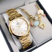 Relógio Champion Feminino Dourado Analógico Prova DAgua + Pulseira com Berloques Garantia de um Ano -