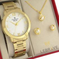 Relógio Champion Feminino Dourado Branco CN28704D 1 Ano de Garantia Prova D'Água -