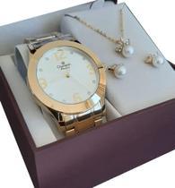 Relógio Champion Feminino Dourado CH24268D Banhado Ouro 18k Garantia P D'água nf original Kit Colar -