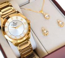 Relógio Champion Feminino Dourado CH24759W + Colar e Brincos Prova D Água Garantia de Um Ano -
