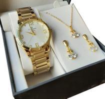 Relógio Champion Feminino Dourado CN26055W Banhado Ouro 18k Garantia P D'água nf original -