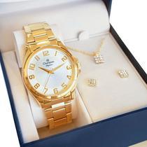 Relógio Champion Feminino Dourado CN26377W Prova DAgua Garantia de Um Ano -