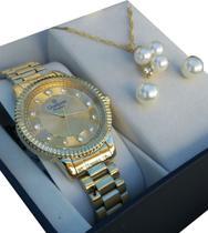 Relógio champion feminino Dourado cn29829e -