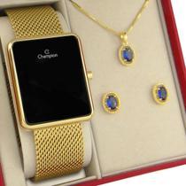 Relógio Champion Feminino Dourado Digital LED Original com garantia de 1 ano acompanha kit de colar e brincos -