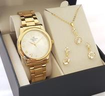 Relógio Champion Feminino Dourado Luxo com Kit colar e Brincos -