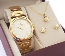 Relógio Champion Feminino Dourado Original CN26377W Com Colar e Brincos -