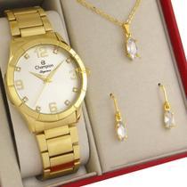 Relógio Champion Feminino Dourado Prova d'água com 1 ano de garantia com colar e brincos -