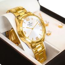 Relógio Champion Feminino Dourado Prova DAgua + Kit de Brincos e Colar Garantia De Um Ano -