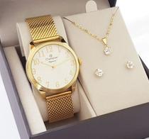 Relógio Champion Feminino Dourado Pulseira Esteira Com Colar e Brincos -