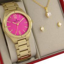 Relógio Champion Feminino Dourado Rosa Prova d'água com 1 ano de garantia com colar e brincos -