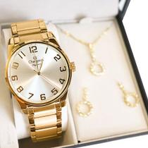 Relógio Champion Feminino Elegance Dourado CN27652W + Kit Colar e Brincos -