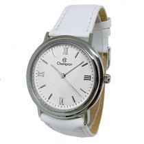 Relógio Champion Feminino Médio Branco Analógico Pulseira Couro -