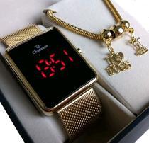 Relógio Champion Feminino Original Novo Dourado Led Vermelho CH40080V -