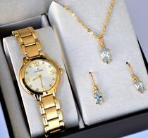 Relogio champion feminino pequeno dourado cn28419w + kit semi joia -