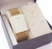 Relógio Champion Feminino Quadrado Digital Led Original com Colar e Brincos -