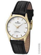 Relógio Champion Feminino Social CH24099B Quartz Dourado Pulseira de Couro Preto -