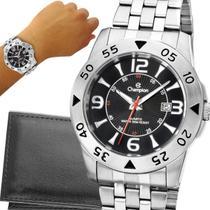 Relógio Champion Masculino Prata Preto Original com garantia de 1 ano e carteira -