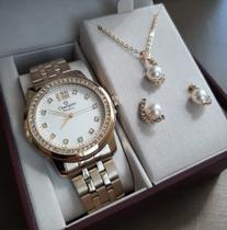 Relógio Champion Passion Feminino Dourado CN29954W + Kit - Moveis Print
