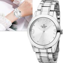 Relógio Champion Passion Feminino Grande  Prateado Prova dÁgua Original CH24268Q -