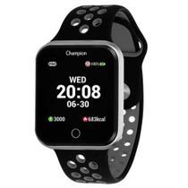 Relógio Champion Smart Bluetooth 4.0 Prata Pulseira Preta e Cinza CH50006C Smartwatch -