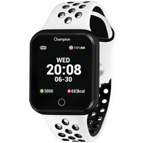 Relógio Champion Smart Bluetooth 4.0 Preto Pulseira Branca e Preta CH50006K Smartwatch -