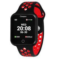 Relógio Champion Smart Bluetooth 4.0 Preto Pulseira Preta e Vermelha CH50006V Smartwatch -