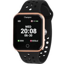 Relógio Champion Smart Bluetooth 4.0 Rosé Pulseira Preta CH50006Z Smartwatch -