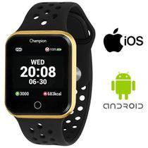 Relógio Champion Smartwatch Bluetooth Preto Caixa Dourada -