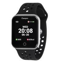 Relógio Champion Smartwatch Prata Pulseira de Silicone Preta CH50006T -