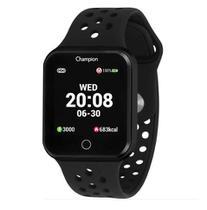 Relógio Champion Smartwatch Preto Pulseira de Silicone Preta CH50006P -