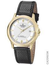 Relógio Champion Social CA20465M Quartz Dourado Pulseira de Couro Preto -