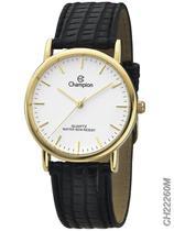 Relógio Champion Social CH22260M Quartz Dourado Pulseira de Couro Preto -