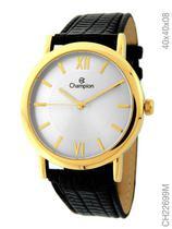 Relógio Champion Social CH22699M Quartz Dourado Pulseira de Couro Preto -