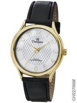 Relógio Champion Social CH22706M Quartz Dourado Pulseira de Couro Preto -