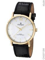 Relógio Champion Social CH22715M Quartz Dourado Pulseira de Couro Preto -