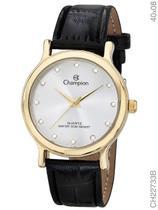 Relógio Champion Social CH22733B Quartz Dourado Pulseira de Couro Preto -
