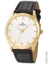 Relógio Champion Social CH22742M Quartz Dourado Pulseira de Couro Preto -