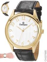 Relógio Champion Social CH22788B Quartz Dourado Pulseira de Couro Preto -