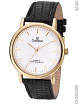 Relógio Champion Social CN20042B Quartz Dourado Pulseira de Couro Preto -