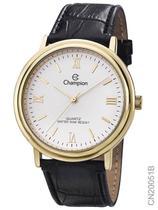 Relógio Champion Social CN20051B Quartz Dourado Pulseira de Couro Preto -