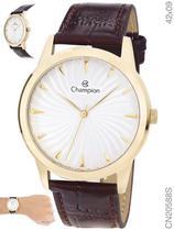 Relógio Champion Social CN20588S Quartz Dourado Pulseira de Couro Marrom -