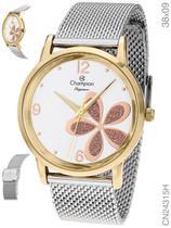 Relógio Champion Social CN24315H Quartz pulseira aço Mesh Prata -