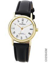 Relógio Champion Social Feminino CH25043M Quartz Dourado Pulseira de Couro Preto -